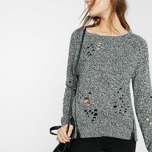 NWT Express Distressed/Destroyed Side Zip Sweater